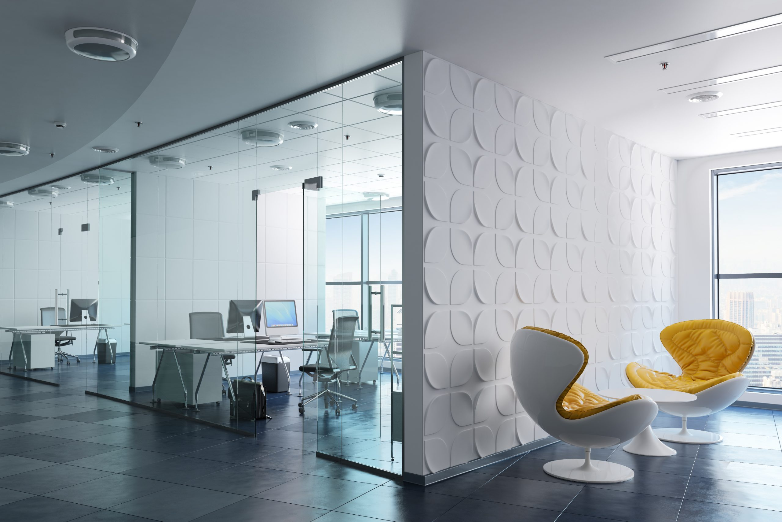 Clean white modern office