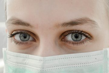 Close up of women wearing medical face mask